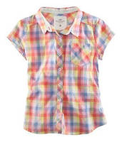 Рубашка короткий рукав в цветную клетку