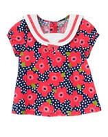 """Блуза-мореходка с коротким рукавом """"Красные цветы"""""""