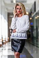 Стильная женская блузка с вышивкой по полочке 42-50 размеры