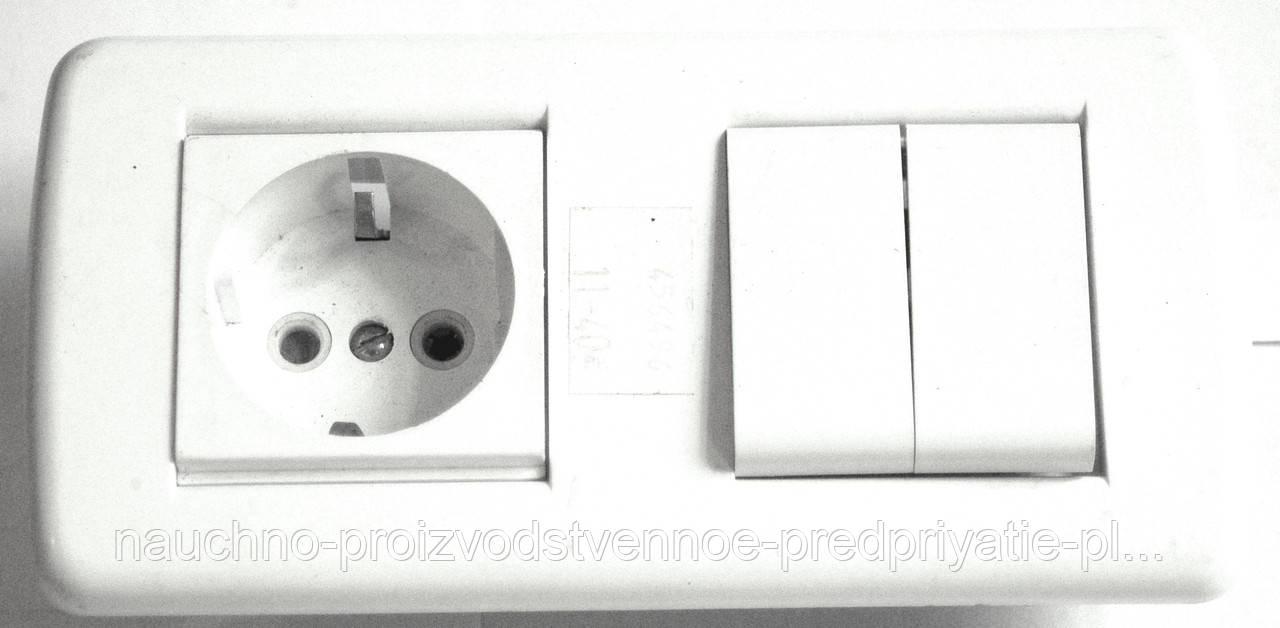Выключатель двухклавишный+розетка с заземлением скрытой установки.
