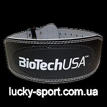 Пояс шкіряний Austin BioTech Ремінна пряжка, Гладка шкіра, Чорний, Пауерліфтинг
