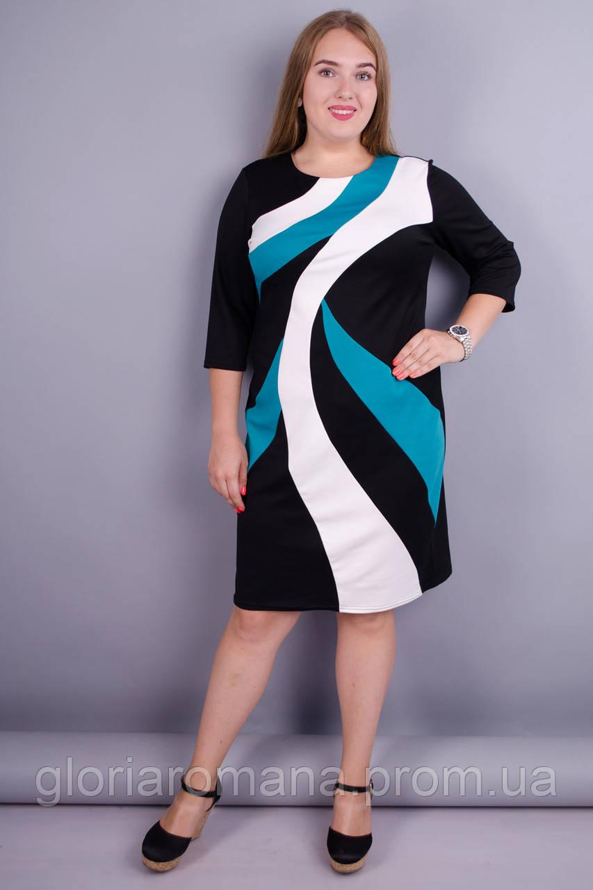 Клавдия. Оригинальное женское платье plus size. Мята. 52 - Женская  одежда оптом от производителя  в Харькове
