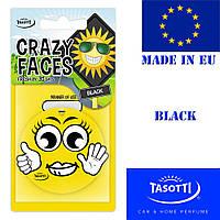 Автомобильный ароматизатор сухой листик Tasotti Crazy Faces Black