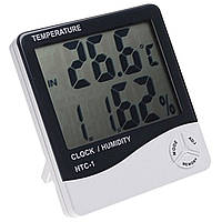 Цифровой гигрометр, термометр, часы HTC-1