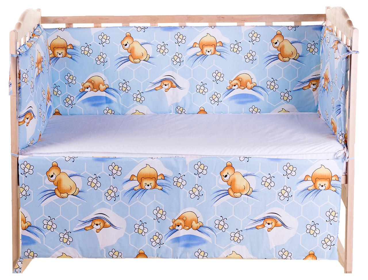 Постель Qvatro Защита на стеночки в кроватке Голубой (мишка лежит, пчелки)
