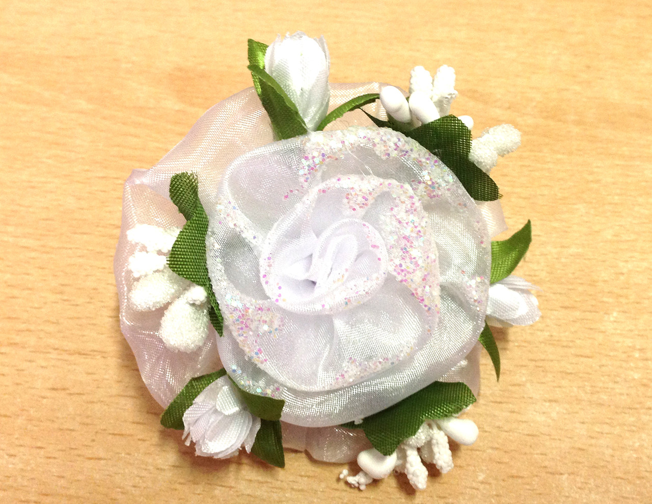 Банты ручной работы, на резинке, белый цветок, диаметр 7 см