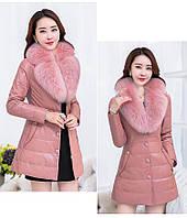 Женская кожаная куртка со съёмным меховым воротником. Модель 6357., фото 6