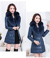 Женская кожаная куртка со съёмным меховым воротником. Модель 6357., фото 7