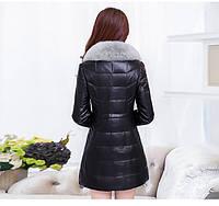 Женская кожаная куртка со съёмным меховым воротником. Модель 6357., фото 3