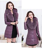 Женская кожаная куртка со съёмным меховым воротником. Модель 6357., фото 8