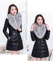 Женская кожаная куртка со съёмным меховым воротником. Модель 6357., фото 9