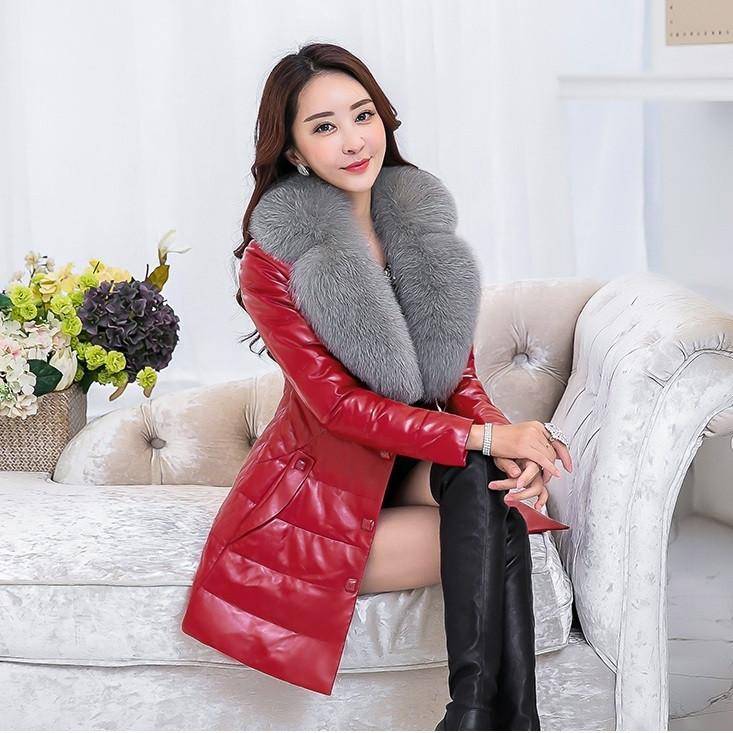 Женская кожаная куртка со съёмным меховым воротником. Модель 6357.