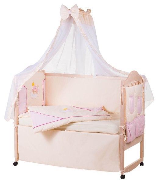Постель Qvatro Ellit с аппликацией Однотон.100% Хлопок (8 Элем.) бежевая - розовые вставки (бежевый мишка в розовой шапке спит на тучке и желтая