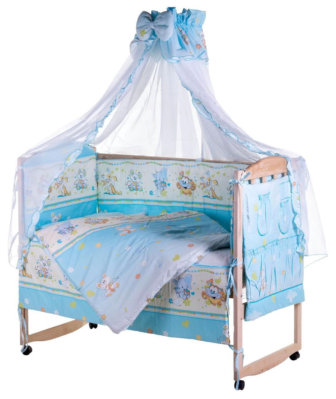 Постель Qvatro Lux (8 Элем.) голубая (мышки с сыром, слон, кот, собачки)