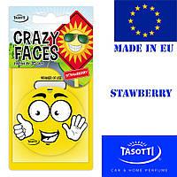Автомобильный ароматизатор сухой листик Tasotti Crazy Faces Strawberry