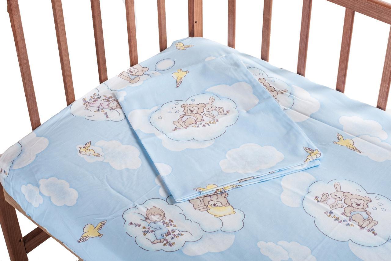 Постель Qvatro Сменный Комплект Lux голубой (мишки и дети спят на облаках)
