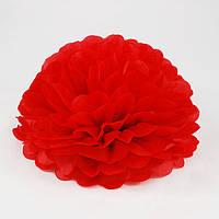 Бумажный помпон красный (25 см)