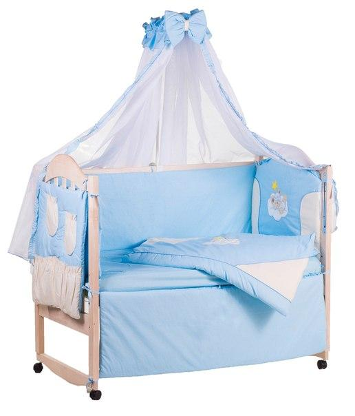 Постель Qvatro Ellit с аппликацией Однотон.100% Хлопок (8 Элем.) голубая - бежевые вставки (бежевый мишка в голубой шапке спит на тучке и желтая