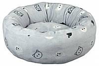 Лежак Trixie Mimi плюш і нейлон, сірий з малюнком, 50 см