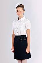 Нежная девичья подростковая школьная блузка с гипюром