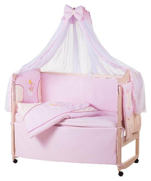 Постель Qvatro Ellit с аппликацией Однотон.100% Хлопок (8 Элем.) розовая - бежевые вставки (бежевый мишка в розовой шапке спит на тучке и желтая