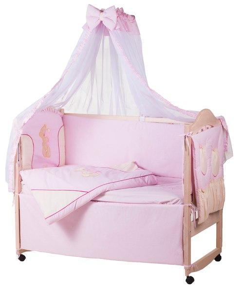 Постель Qvatro Ellit с аппликацией Однотон.100% Хлопок (8 Элем.) розовая - бежевые вставки (косолапый бежевый мишка штопанный стоит с розовым сердцем)