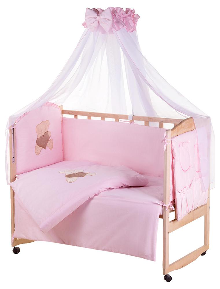 Детская постель Qvatro Gold AG-08 аппликация  розовый (мишка сидит с коричневым сердцем)