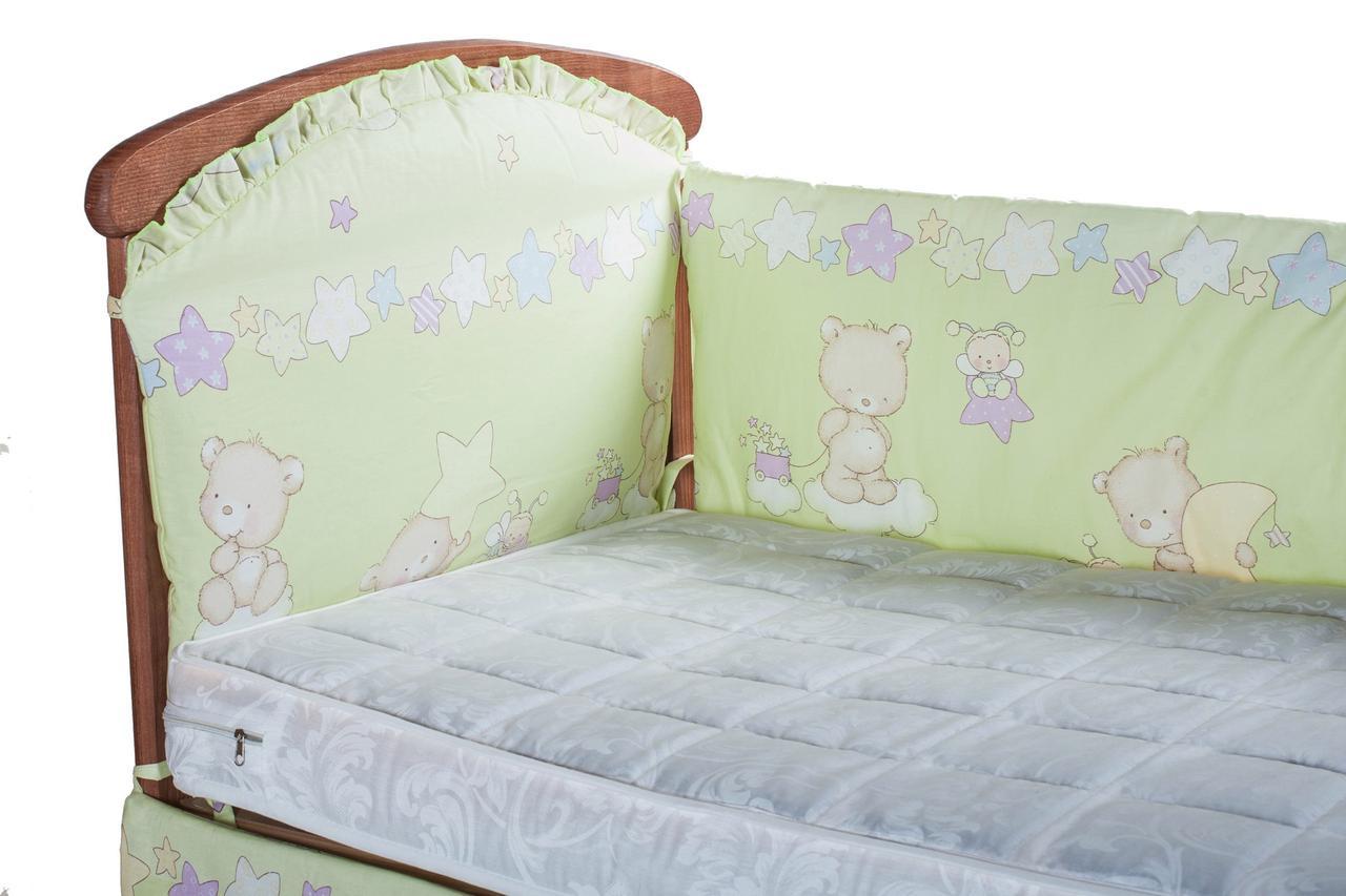 Защитка на стеночки в кроватке Qvatro салатовая (медведь на облаке)