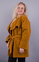 Софи. Оригинальное пальто plus size. Горчица.