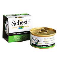 Schesir (Шезир) TUNA & CHICKEN - натуральные консервы для кошек, влажный корм тунец c филе курицы в желе, 85г
