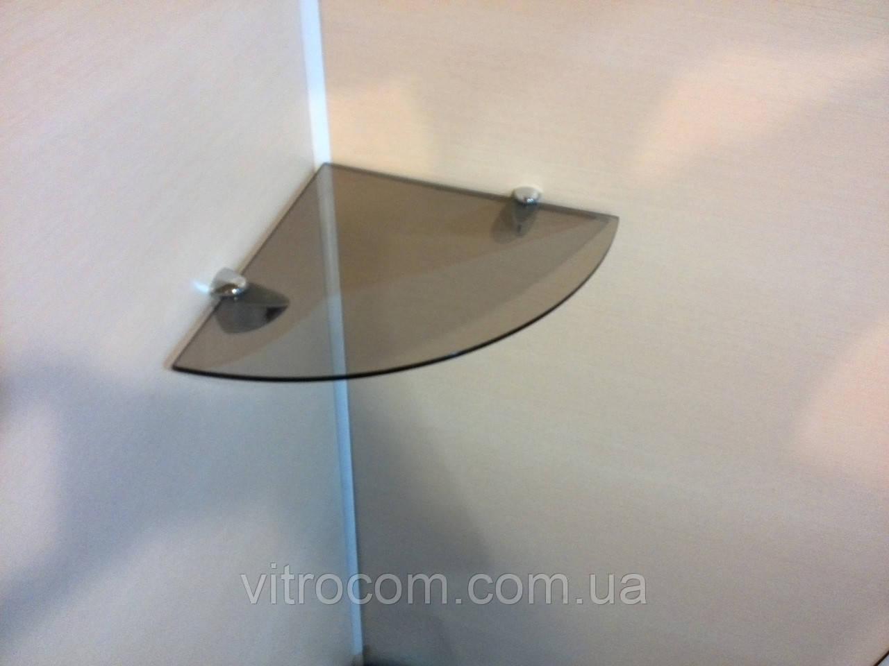 Полиця скляна кутова 5 мм бронзова 25 х 25 см