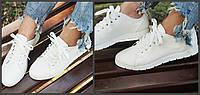Стильные женские белые мокасины из эко кожи. Арт-0665