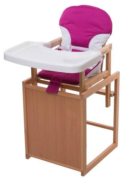 Стульчик для кормления For Kids Трансформер С Пластиковой Столешницей, Бук Светлый светлое дерево, малиновый