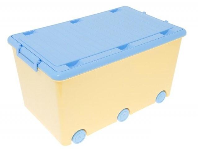 Ящик для игрушек Tega KR-010  blue/yellow синий с желтой крышкой