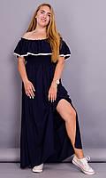 Ксения. Женское платье с воланом больших размеров. Синий. 52