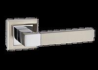 Дверная ручка на розетке MVM Grotti A-2004 SN/CP матовый никель/пол.хром - бесплатная доставка
