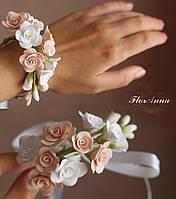 """""""Бело-персиковые розы"""" свадебный браслет с цветами для невесты или свидетельницы. Ручная работа., фото 1"""