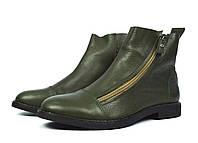 Темно-зеленые осенние женские кожаные ботинки WRIGHT на каждый день ( новинки весна-осень )