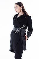 Женский стильный кардиган со вставками эко-кожи