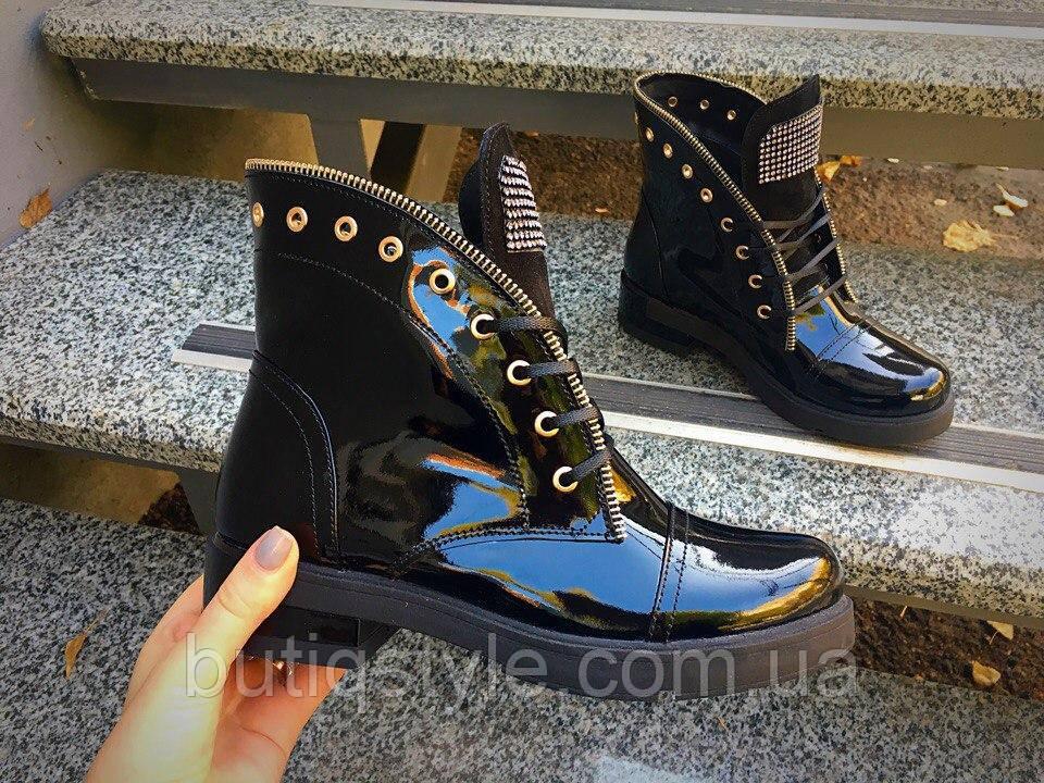 36 размер! Демисезонные ботинки в стиле Bai)ain лаковые