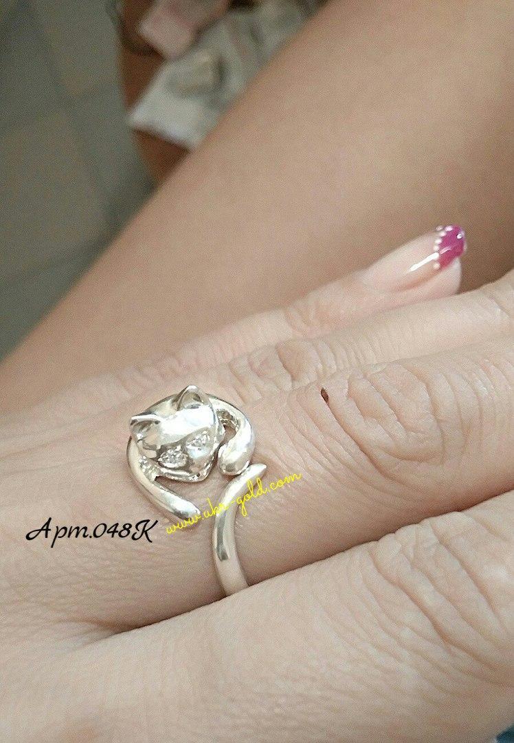 Кольцо серебряное Кошка