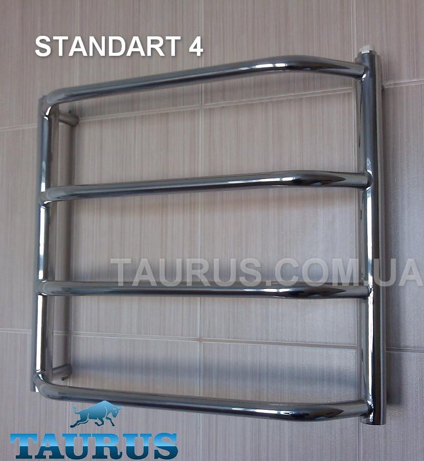 Миниатюрный, узкий н/ж полотенцесушитель Standart 4 /450х400 мм. Выступающие трапецией перемычки d20