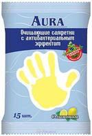 Влажные салфетки AURA 15 шт. для детей Антибактериальные Лимон