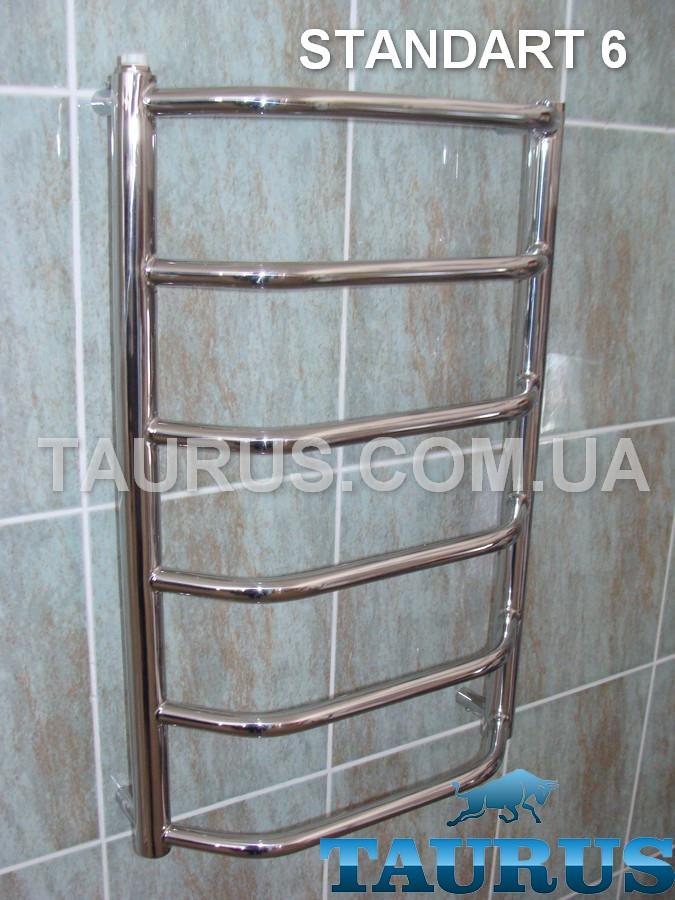 Популярный н/ж полотенцесушитель Standart 6/650х450. Вода, ТЭН и Комбинированый