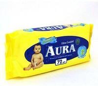Влажные салфетки AURA для детей 72 шт