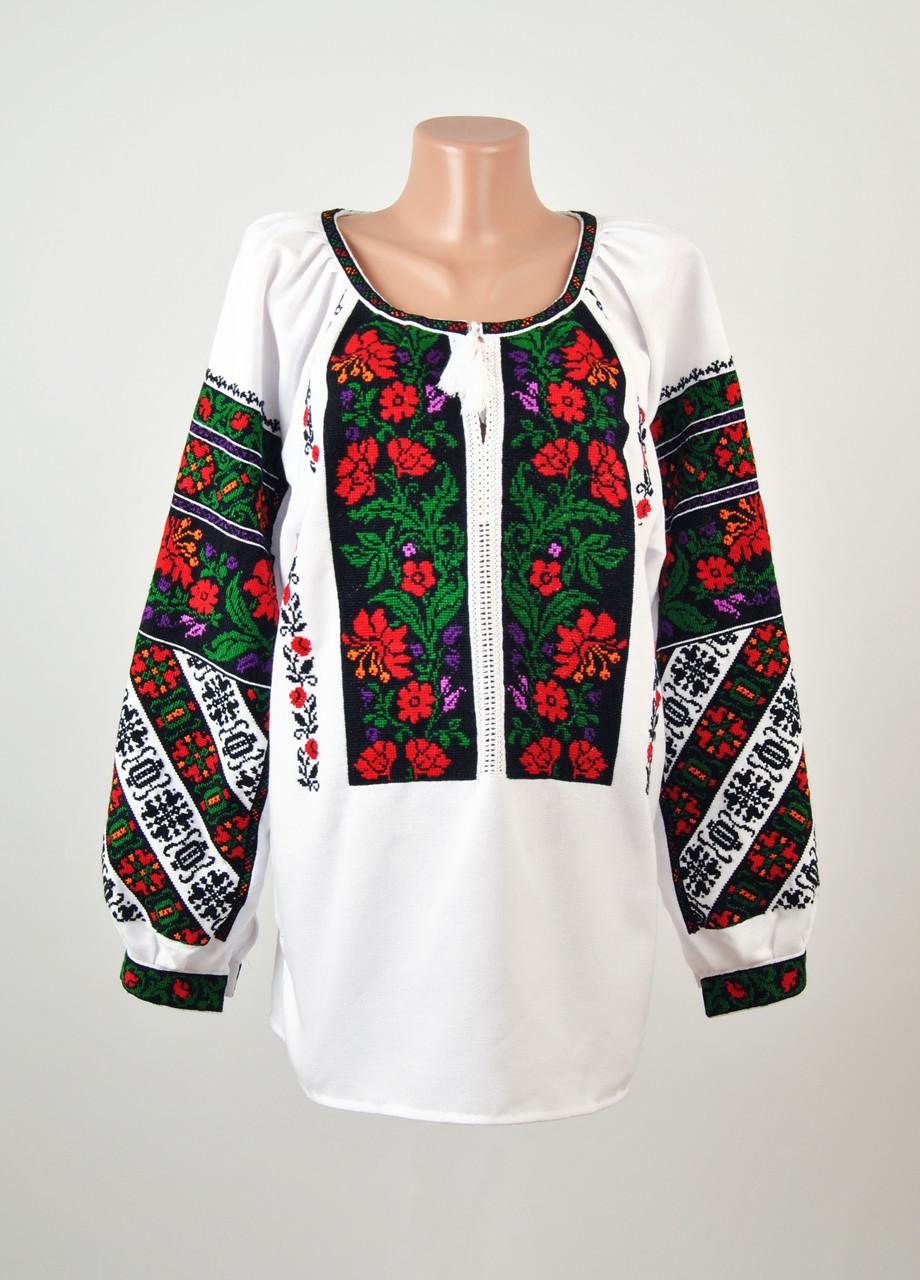 8ba00ac4c19f8a Жіноча вишиванка ручної роботи на домотканому полотні з борщівським  орнаментом