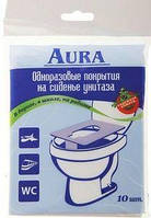 Одноразовые покрытия на сиденье унитаза AURA, 10шт.