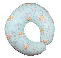 Подушка для кормления малышей Мишка на луне мятный