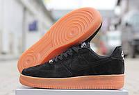 Кроссовки мужские Nike Air Force, цвет - черный, материал - замша, подошва прошиты