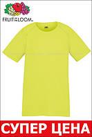 Детская Спортивная Футболка Ярко-жёлтая Fruit of the loom 61-013-XK 3-4